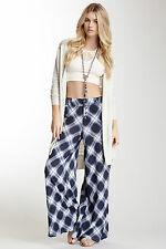 NWT $148 Free People Extreme Wide Leg Blue Plaid Crinkle Bias Pants Size 8