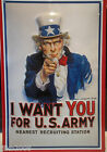 UNCLE SAM/ I WANT YOU for US ARMY: EMBOSSED(3D) METAL ADVERTISING SIGN 30X20CM