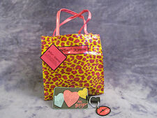 BETSEY JOHNSON LOT Reusable Leopard Shopping Bag Lunch Tote Luggage Tag Key Ring
