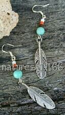 SILVER FEATHER CHARM DANGLE EARRINGS TURQUOISE BEADS ON STERLING SILVER HOOKS