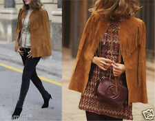 ZARA STUDIO SIZE M GENUINE SUEDE LEATHER CAPE JACKET FRINGING LEDERJACKE FRANSEN