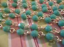 "Turquoise 4mm Fire Polished Glass Beads on Brass Bead Chain - Qty 18"" strand"