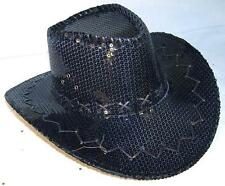SEQUIN BLACK COWBOY HAT party supply western hats mens womens COWGIRL new cap