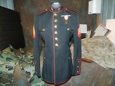 USMC US MARINE CORPS DRESS BLUES JACKET COAT TOP SIZE: 39 S W/ MEDAL SEE PICS