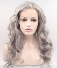 Natural Looking Long Wavy Grey Synthetic Hair Lace Front Wigs UK Heat Resistant