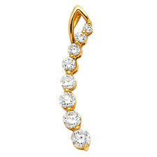 14k Yellow Gold 0.35 Ct Diamond Love Journey Pendant Charm for Necklace 1.2 gr