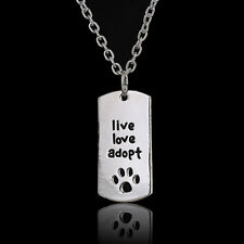 SILVER PLATED LIVE LOVE ADOPT DOG CAT PAW PRINT ENGRAVED PENDANT NECKLACE