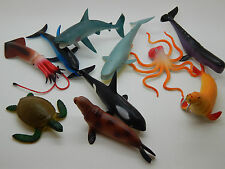 10 Ocean World Plastic sea creatures Brand new in pack. Fish Shark Whale Turtle