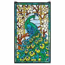 """HD715 Peacock's Paradise Stained Glass Window - 23"""" x 34"""" New!"""