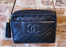 Chanel Lambskin Vintage Camera Bag Tassel - CC Embossed Logo - 1980s - Navy Blue