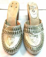 Calleen Cordero  shimmery Light Gold Studded  Clogs Heels Women's 8 Shoes