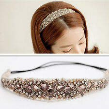 Women Girl Sweet Lace Pearl Hairband Rhinestone Crystal Headband Head Piece New