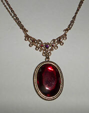 RED VICTORIAN STYLE ROSE GOLD PLATED FILIGREE & OVAL PENDANT NECKLACE