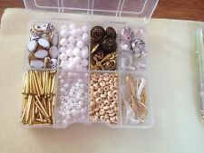 WHITE&GOLD COLOURED JEWELLERY MAKING KIT GLASS WOOD CHARMS FINDINGS NEW BEADS