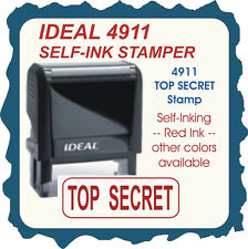 TOP SECRET, Trodat / Ideal Custom Made Self Inking Rubber Stamp 4911 Red Ink