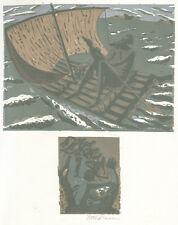 Went Strauchmann - Odysseus - Farb-Linolschnitt, signiert