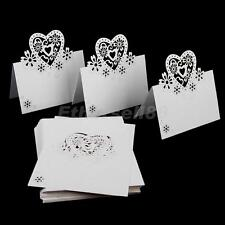 50pcs Hollow Heart Place Name Cards Wedding Party Setting Table Decor Ivory