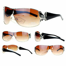 BUTTERFLY Shield Style Women's Fashion Sunglasses Silver Black BROWN Lens