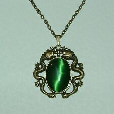 MYSTICAL DARK GOLD PLATED DRAGON PENDANT WITH DEEP GREEN GLASS STONE
