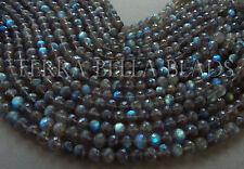 """Full 9"""" strand LABRADORITE faceted gem stone ROUND beads 6mm - 6.5mm blue green"""