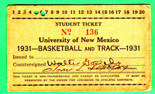 SUPER SCARCE! 1931 UNIV OF NEW MEXICO-BASKETBALL & TRACK FULL TICKET