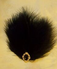 Black Feather & Gold Vintage Diamante 1920s Hair Clip Slide