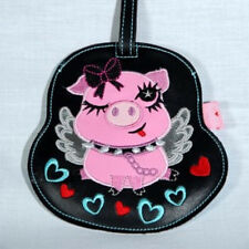New Acme FLUFF Animal FUNKY  Luggage Tag  PINK PIG  with WINGS Cute gift clip on