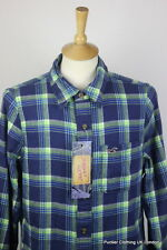 HOLLISTER MENS SHIRT LARGE 46 SLIM SOFT FLANNEL COTTON  BLUE CHECK LONG SLEEVE