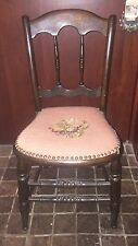 Antique 19th century Victorian chair with needlepoint cushion brass nailheads