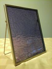 Eclectic  Picture Frame silver tone, purple textured glass folding bracket stand