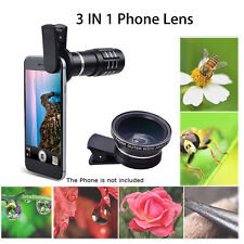 3 in 1 Telephoto+Wide Angle+Macro Photo Lens Clip Mobile Phone Camera Set Black