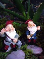 Miniature Fairy Garden Gnome Dwarf Figurine on pick set/ 2
