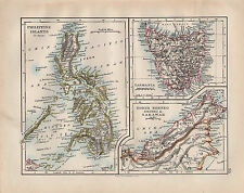 1902 VICTORIAN MAP ~ PHILIPPINE ISLANDS TASMANIA NORTH BORNEO