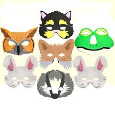 7 FOAM Animal Masks for Children - Cat, Frog, Owl, Fox, Badger & 2 Rabbits