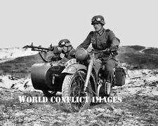 USAAF WW2 German Motorcycle Soldiers Sidecar MG 34 Machine Gun 8x10 Photo WWII