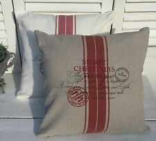LillaBelle CHRISTMAS Kissen Bezug 45x45 Sand Rot Shabby Chic Vintage Landhaus