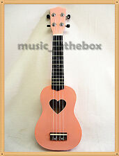 "WOODNOTE 21"" Sweet Pink with Heart Hole Soprano Wooden Ukulele & Carrying Bag"