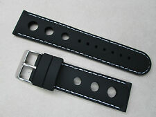 22mm silicone rubber racing watch band strap black stitched in white