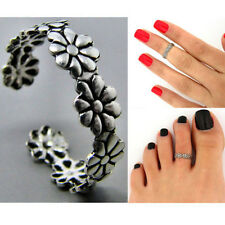 2pcs Cute Fashion Simple Retro Flower Design Adjustable Toe Ring Foot Jewelry