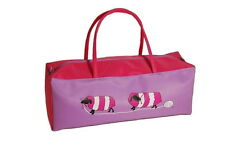 Knitting Craft Storage Bag Lilac Fuchsia with Fun Sheep Design Fabric