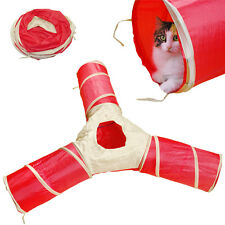 3 Way Cat Kitten Gym Fun Play Tunnel Toy Pet Kitten Rabbit Collapsible Toy Tent