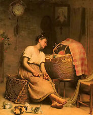 Oil painting paul peel - mother love with baby in the cradle and animals cats