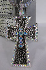 New women silver metal plate scarf necklace pendant charm 2 crpsses rhinestones