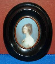 1800'S MINATURE HAND PAINTED PAINTING ON IVORY YOUNG LADY OVAL WOOD FRAME DH