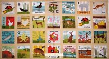 "Alphabet Letter Animal Pictures Cotton Fabric Red Rooster Alphabet 24""X44"" Panel"