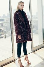 NWT Elizabeth and James Bebe Boucle Coat Burgundy Size S $765