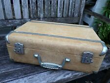 """WHEARY true vintage tan fabric aluminum Lucite small hard side suitcase 18"""""""