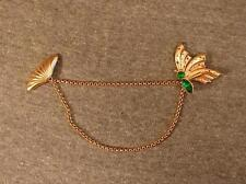 Vintage Butterfly Sweater Clip Guard Clasp Collar Shawl Chain Rhinestone Pin