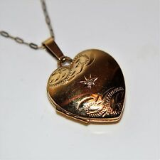 """Diamond My Heart Says Forever 9ct Yellow Gold Photo Locket with 18"""" Chain"""