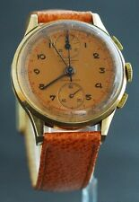 Vintage Chronographe Swisse 18K Men's Watch With Copper Color Dial All Original